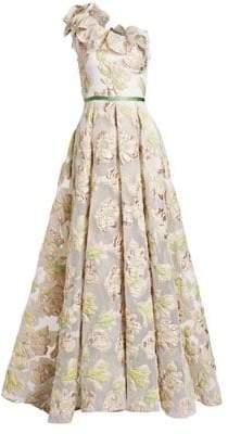 Marchesa One-Shoulder Floral Jacquard A-Line Gown