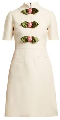 Gucci Rose Embellished High Neck Wool Blend Dress - Womens - Ivory