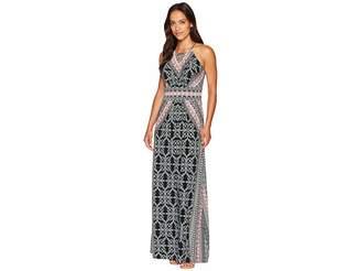 London Times Ornate Tile Keyhole Halter Maxi Dress Women's Dress