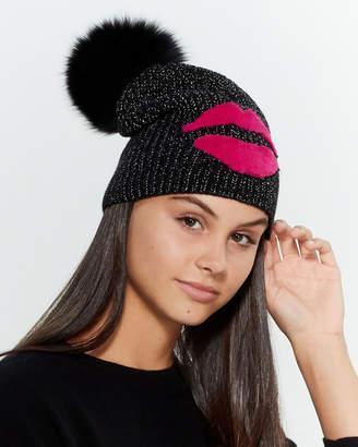 Jocelyn Real Fur Pom-Pom Lips Beanie