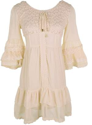 Anna-Kaci Womens Boho Peasant Floral Lace Ruffle Hem Bell Sleeve Mini Dress