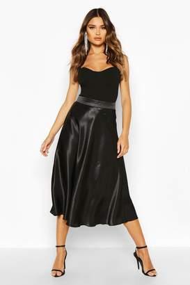 boohoo Satin Fall Midi Skirt