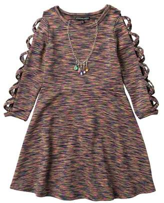 My Michelle mymichelle Criss Cross Sleeve Space Dye Dress & Necklace (Big Girls)