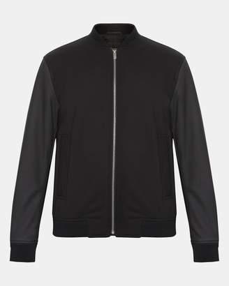Theory Leather-Sleeve Bomber Jacket