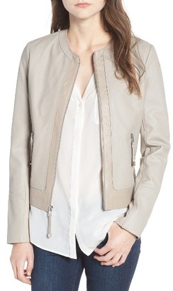 Women's Via Spiga Two-Tone Collarless Leather & Ponte Jacket $378 thestylecure.com
