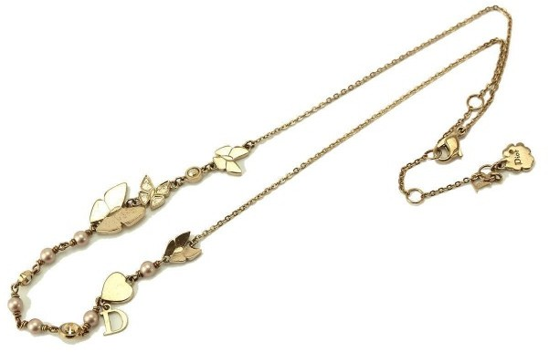 Christian Dior  Christian Dior Gold Tone Metal Butterfly Pearl Necklace
