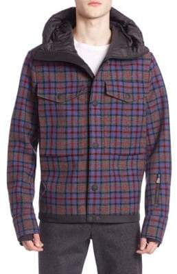 Moncler Plaid Wool-Blend Hooded Jacket
