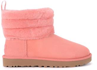 UGG Fluff Mini Pink Suede Ankle Boots