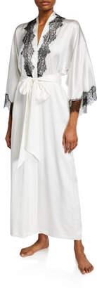 Christine Lingerie Arabella Lace-Trim Silk Robe