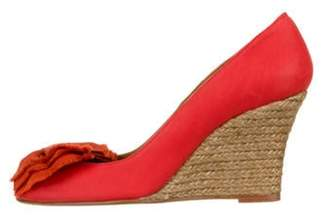 Lanvin Bow-Accented Wedge Pumps Orange Bow-Accented Wedge Pumps