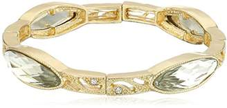 clear 1928 Jewelry Gold-Tone Crystal Slim Navette Stretch Bracelet