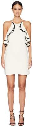 Halston Sleeveless High Halter Neck Ruffle Detail Dress Women's Dress