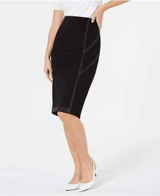 Alfani Contrast Stitch Midi Skirt