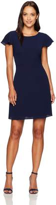 London Times Women's Plus Size Crepe Dress with Shoulder Ruffles