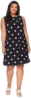 Lauren Ralph Lauren Plus Size Suzan Penninsula Dot Matte Jersey Dress Women's Dress