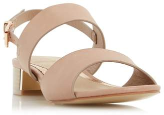 Head Over Heels by Dune - Natural 'Navilla' Metallic Insert Block Heel Sandals