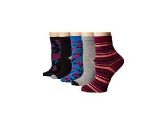Betsey Johnson 5-Pack Pattern Crew Socks