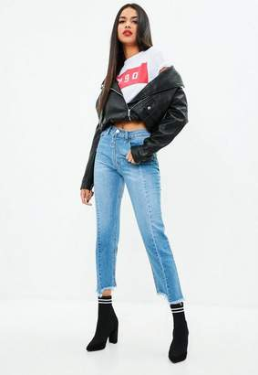 Missguided Blue Exposed Zip Straight Leg Jeans