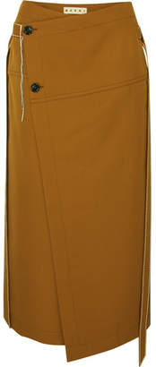 Marni Asymmetric Belted Wool-twill Wrap Skirt - Brown