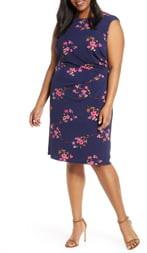 Eliza J Floral Ruched Sleeveless Sheath Dress