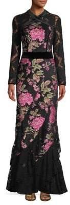 Tadashi Shoji Lace Long-Sleeve Jacquard Gown