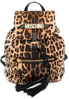 Moschino Leopard Print Logo Backpack