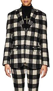 R 13 Women's Buffalo-Checked Wool-Blend Two-Button Boyfriend Blazer-Cream