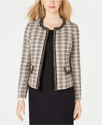 Kasper Open-Front Tweed Jacket