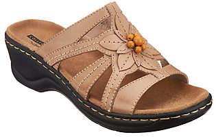 Clarks Leather Slides w/ Bead Detail -Lexi Myrtle