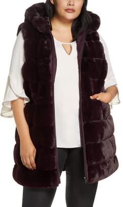 Via Spiga Reversible Hooded Faux Fur Vest