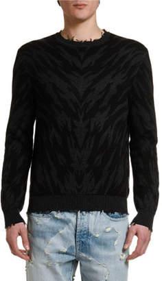 Marcelo Burlon County of Milan Men's Zebra Intarsia Crewneck Sweater