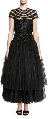Naeem Khan Beaded Fringe Cap-Sleeve Tulle Tea-Length Gown, Black