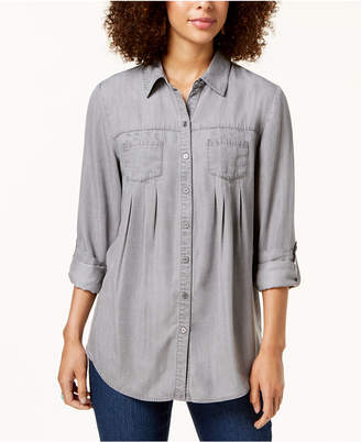 Style&Co. Style & Co Petite 2-Pocket Button-Down Shirt