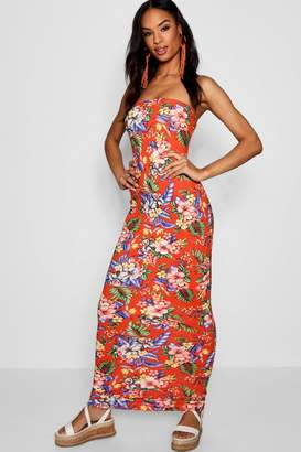 boohoo Tall Tropical Print Bandeau Jersey Maxi Dress