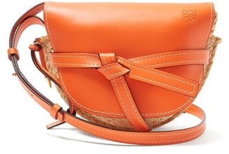 Loewe Gate Small Leather And Raffia Cross Body Bag - Womens - Orange Multi