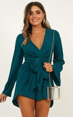 Showpo Holiday Romance Playsuit in emerald - 6 (XS) Long Sleeve