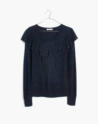 Madewell Ruffled Tie-Front Pullover Sweater
