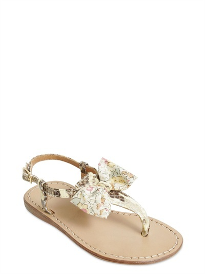 Snake Print Leather Flip Flop With Bow
