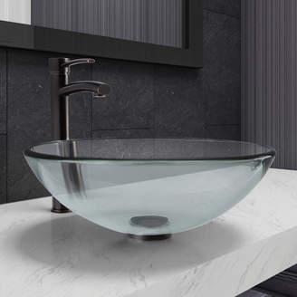 VIGO Glass Circular Vessel Bathroom Sink with Faucet Drain