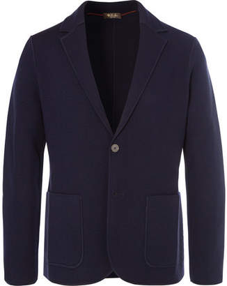 Loro Piana Navy Slim-Fit Unstructured Waffle-Knit Virgin Wool Blazer