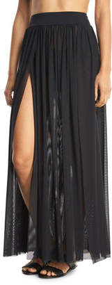 JETS by Jessika Allen Aspire Layered Mesh Maxi Coverup Skirt, Black $163 thestylecure.com