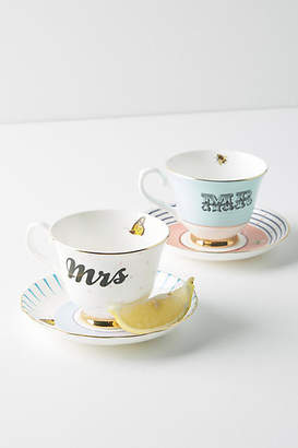 Anthropologie Mr. and Mrs. Teacup Set
