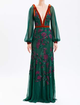 J. Mendel Forest Embroidered Chiffon V-Neck Gown