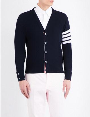 Thom Browne Striped-sleeve merino wool cardigan $760 thestylecure.com