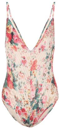 Zimmermann Laelia floral pintuck swimsuit