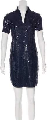 Halston Sequin-Embellished Short Sleeve Dress w/ Tags