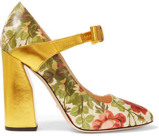 Gucci for NET-A-PORTER - Floral-print Textured-leather Pumps - Gold