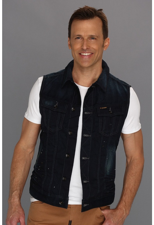 G Star G-Star - Slim Tailored Vest (Grit Denim 3D Raw) - Apparel