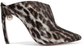 Nicholas Kirkwood Mira Leopard-print Calf Hair Mules - Black