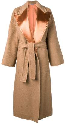 Bottega Veneta satin lapel belted coat